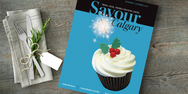 Savour Calgary magazine on a table
