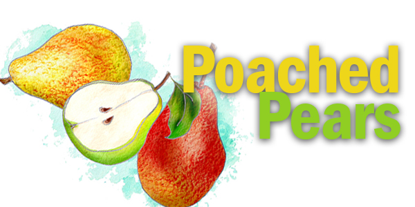 illustration of poached pears recipe