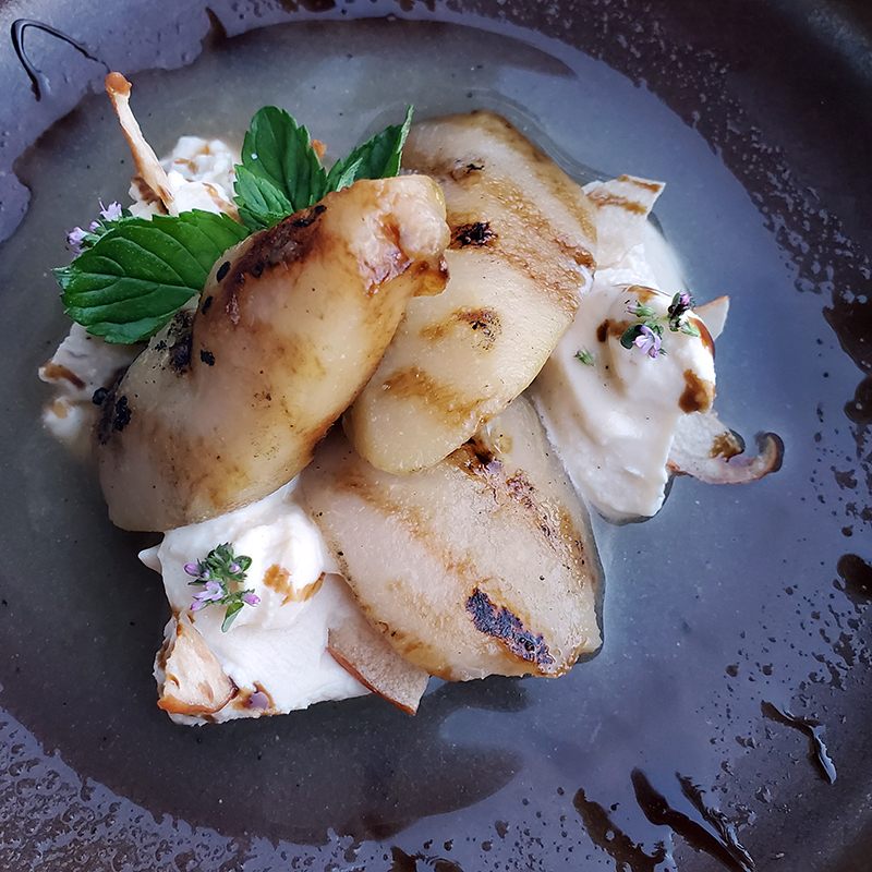 Farm and Fire restaurant Banff dessert grilled pears