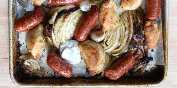 pan sausage and pierogi